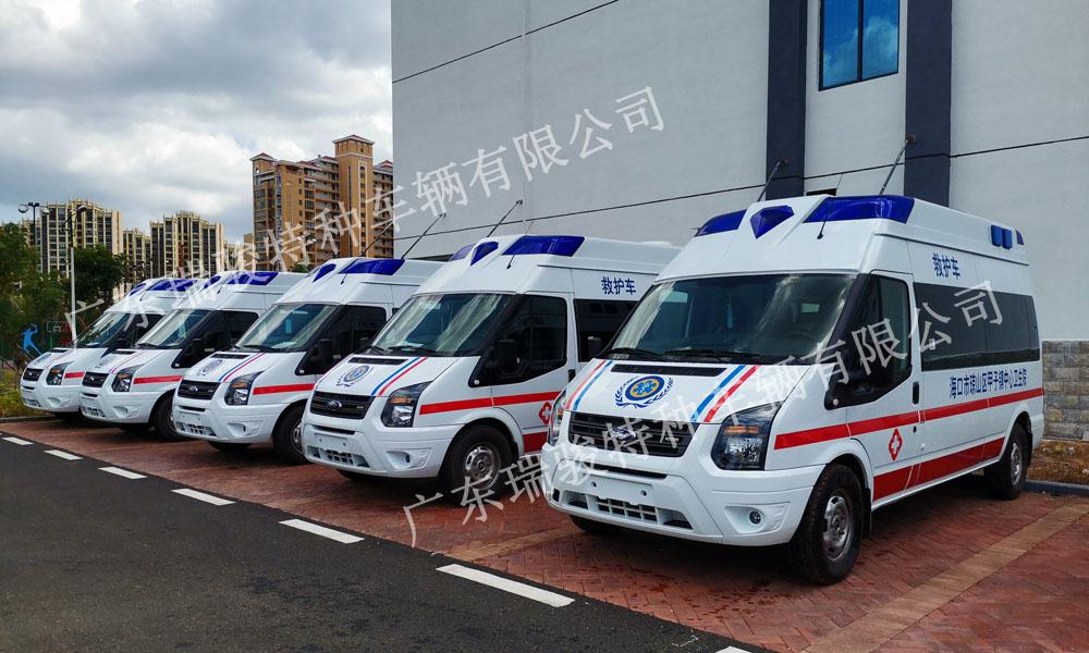 海口市基层医疗救护车采购交车现场